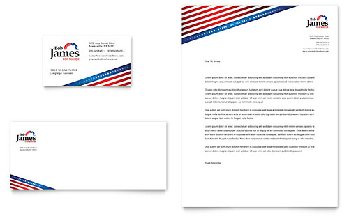 Political Campaign Business Card & Letterhead Template - Microsoft Office