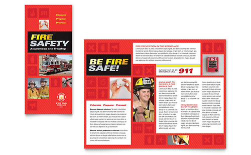 Fire Safety Brochure Template Design