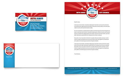 Political Candidate Business Card & Letterhead Template Design
