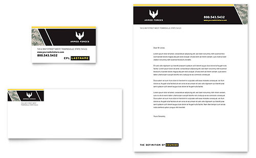 Military Business Card & Letterhead Template - Microsoft Office
