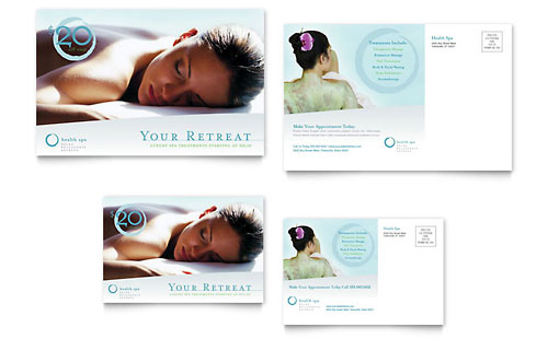 Day Spa & Resort Postcard Template Design