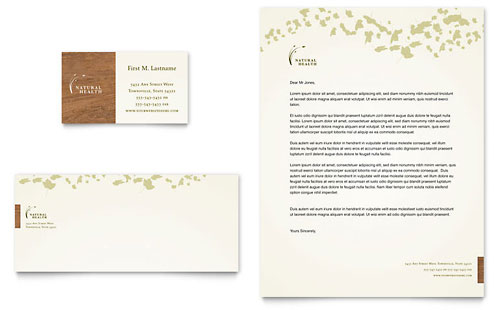 Naturopathic Medicine Business Card & Letterhead - Microsoft Office Template