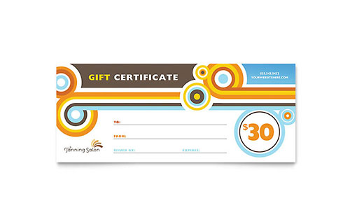 Tanning Salon Gift Certificate - Microsoft Office Template