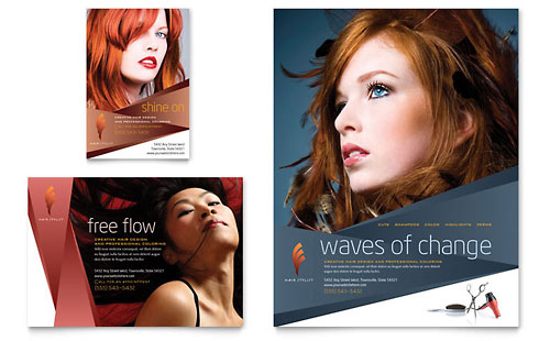 Hair Stylist & Salon Flyer & Ad Template - Microsoft Office