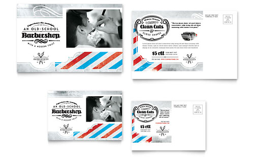 Barbershop Postcard Template - Microsoft Office
