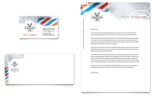 Barbershop Business Card & Letterhead Template - Microsoft Office