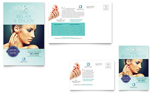 Nail Technician Postcard Template Design