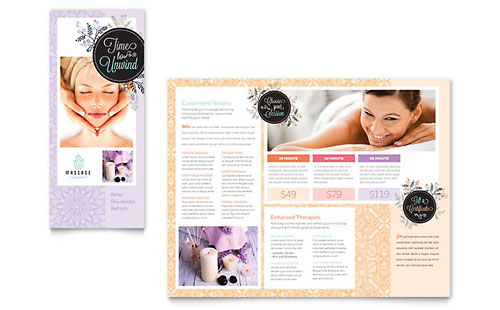 Massage Brochure Template Design