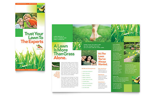 Lawn Maintenance Tri Fold Brochure - Microsoft Office Template