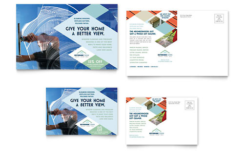 Window Cleaning & Pressure Washing Postcard Template Design