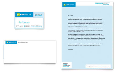 Home Inspection & Inspector Business Card & Letterhead Template - Microsoft Office