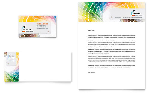 House Painting Contractor Business Card & Letterhead Template - Microsoft Office