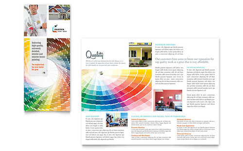 House Painting Contractor Tri Fold Brochure Template - Microsoft Office