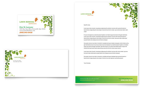 Lawn Mowing Service Business Card & Letterhead Template - Microsoft Office