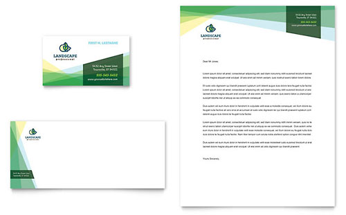 Landscaper Business Card & Letterhead Template - Microsoft Office