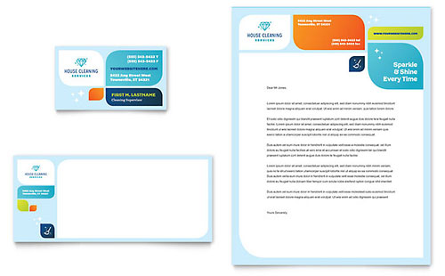 Cleaning Services Business Card & Letterhead Template - Microsoft Office