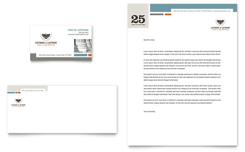Family Law Attorneys Business Card & Letterhead Template - Microsoft Office