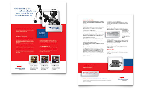 Justice Legal Services Datasheet Template Design