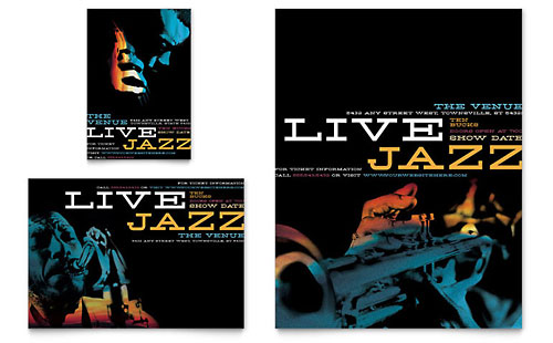 Jazz Music Event Flyer & Ad Template - Microsoft Office