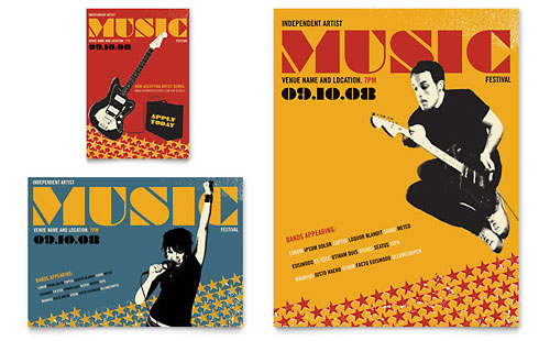 Live Music Festival Event Flyer & Ad Template - Microsoft Office