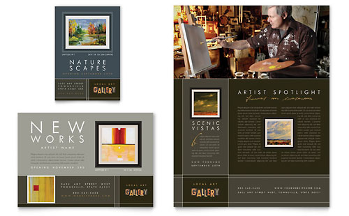 Art Gallery & Artist Flyer & Ad - Word Template & Publisher Template