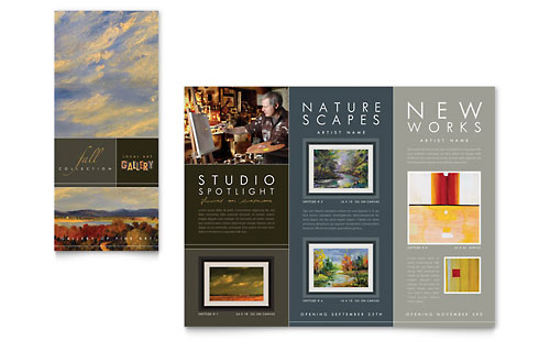 Art Gallery & Artist Tri Fold Brochure Template Design