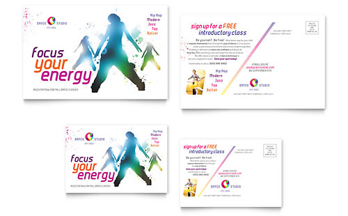 Dance Studio Postcard - Microsoft Office Template