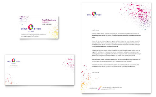Dance Studio Business Card & Letterhead Template - Microsoft Office