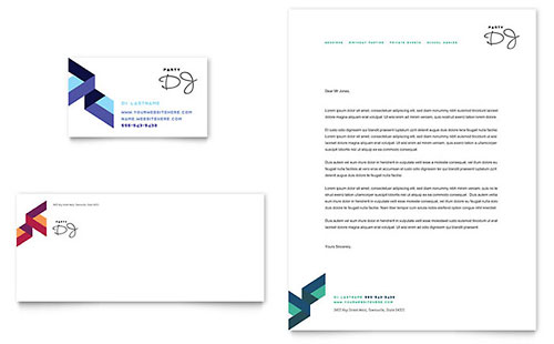 DJ Business Card & Letterhead Template - Microsoft Office