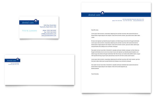 Dentist Office Business Card & Letterhead Template - Microsoft Office