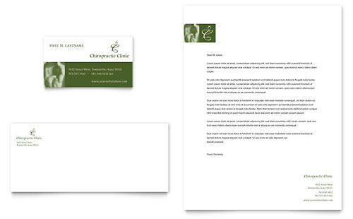 Chiropractor Business Card & Letterhead Template - Microsoft Office