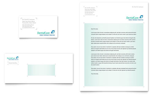 Dental Care Business Card & Letterhead Template - Microsoft Office