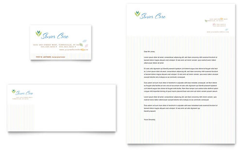 Elder Care & Nursing Home Business Card & Letterhead - Microsoft Office Template