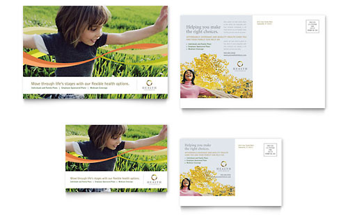 Health Insurance Company Postcard Template Design