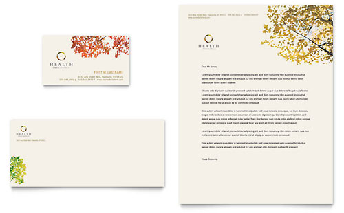 Health Insurance Company Business Card & Letterhead Template - Microsoft Office