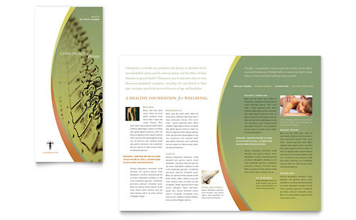 Massage & Chiropractic Tri Fold Brochure Template - Microsoft Office