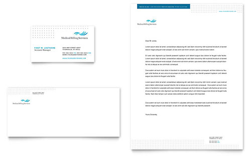 Medical Billing & Coding Business Card & Letterhead - Microsoft Office Template