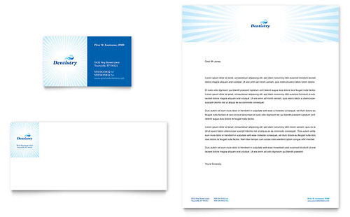 Family Dentistry Business Card & Letterhead Template - Microsoft Office