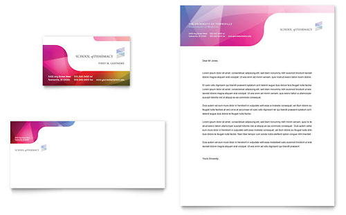 Pharmacy School Business Card & Letterhead Template - Microsoft Office