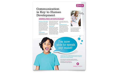 Speech Therapy Education Flyer Template Design
