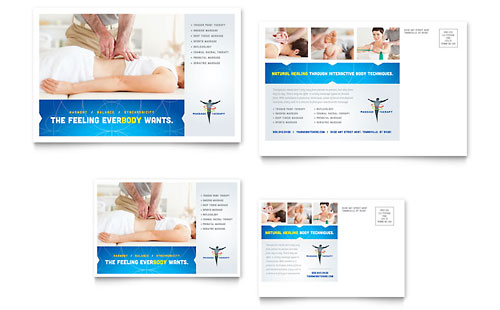 Reflexology & Massage Postcard - Microsoft Office Template