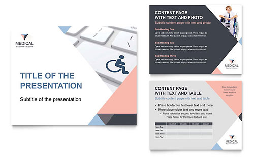 Home Medical Equipment PowerPoint Presentation Template Design