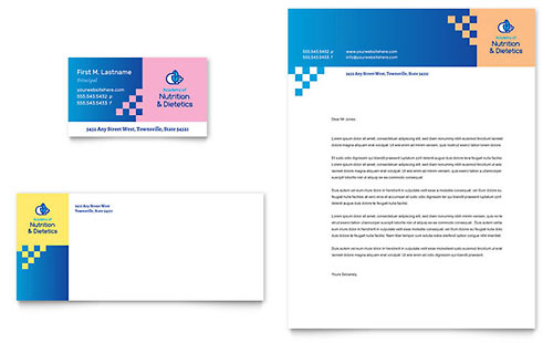 Dietitian Business Card & Letterhead Template - Microsoft Office