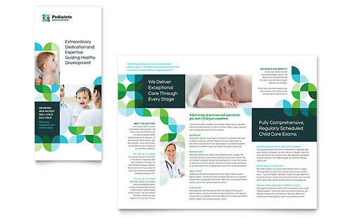 Pediatric Doctor Tri Fold Brochure Template - Microsoft Office