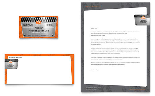 Manufacturing Engineering Business Card & Letterhead - Microsoft Office Template