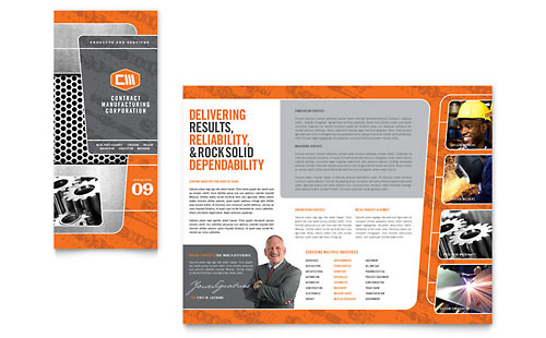 Manufacturing engineering tri fold brochure template for Brochure templates microsoft publisher