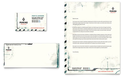 Mining Company Business Card & Letterhead Template - Microsoft Office