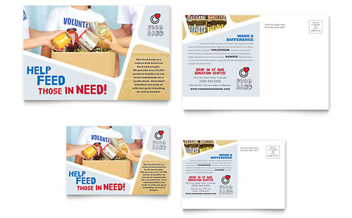 Food Bank Volunteer Postcard - Microsoft Office Template