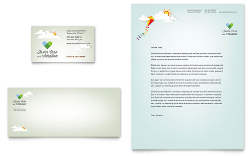 Foster Care & Adoption Business Card & Letterhead Template - Microsoft Office