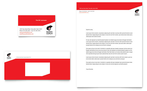 Business Executive Coach Business Card & Letterhead Template - Microsoft Office